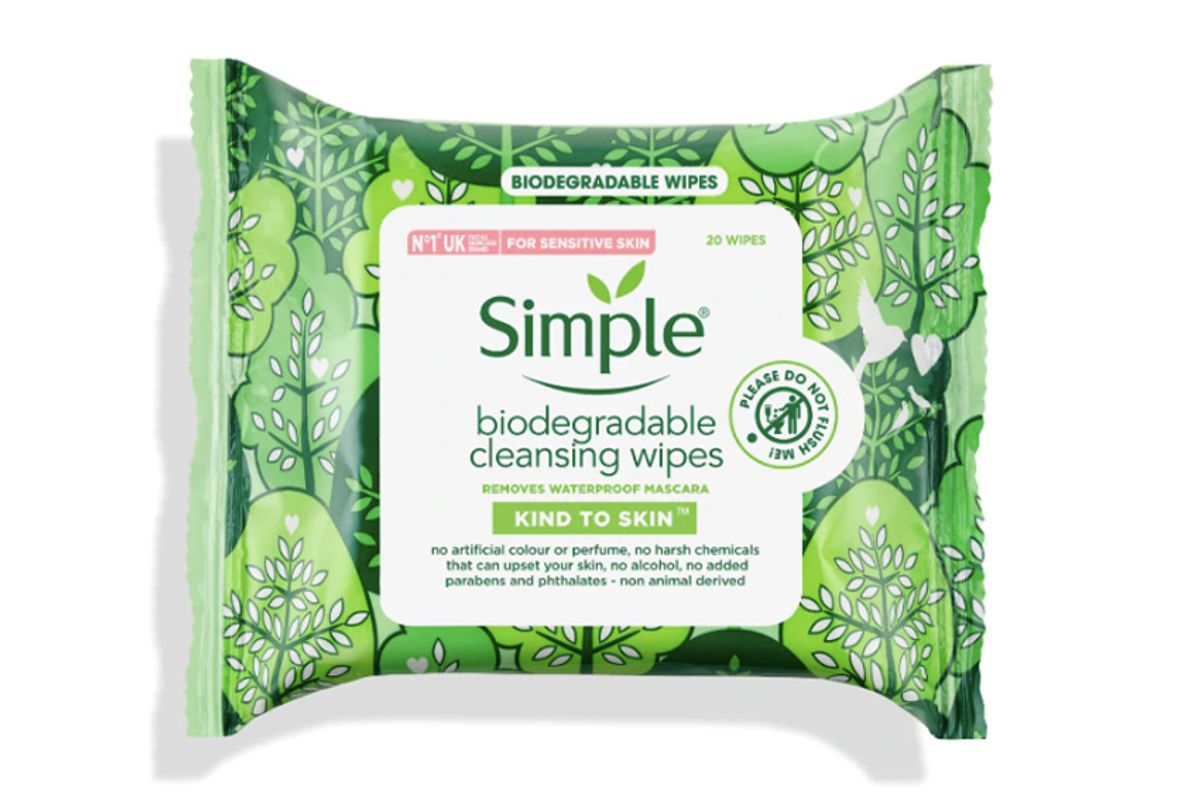 simple skincare simple kind to skin biodegradable cleansing wipes