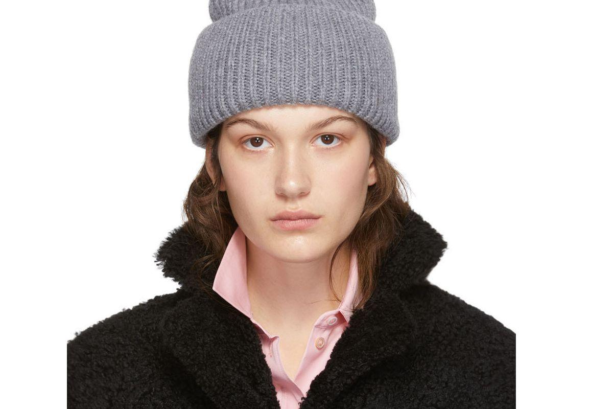 yves salomon grey bonnet pompom beanie