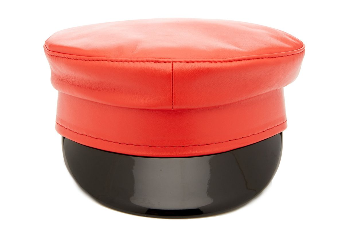 ruslan baginskiy hats two tone leather baker boy hat