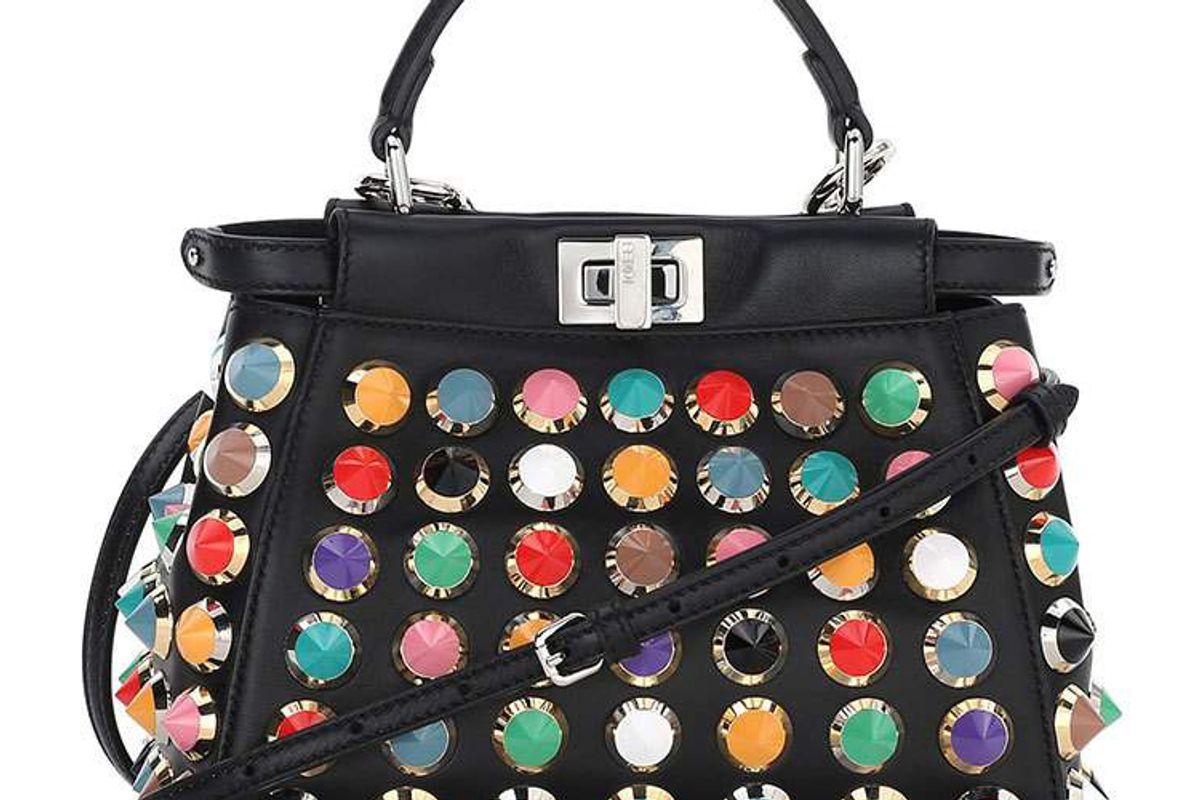 Peekaboo Mini Studded Satchel Bag in Black Multi