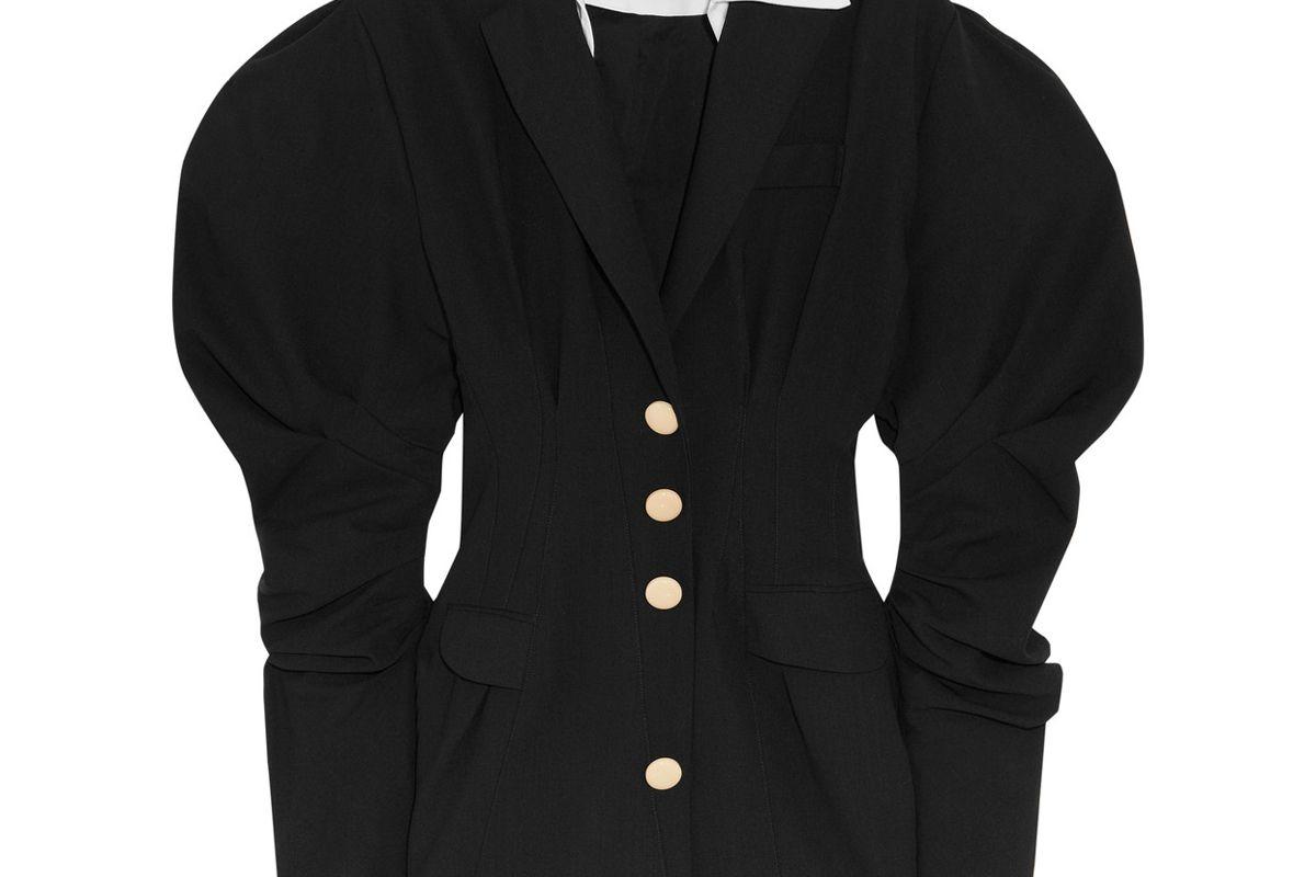 Cotton-Trimmed Wool-Twill Mini Dress