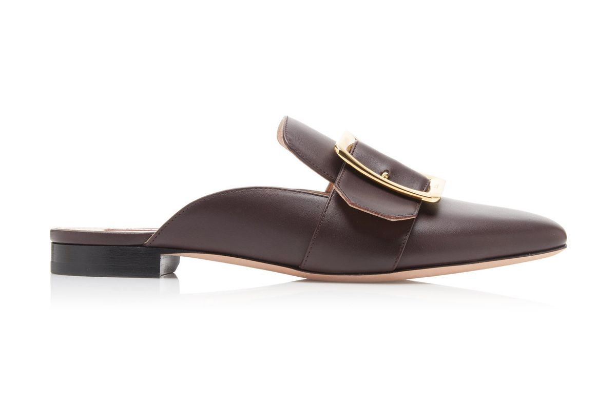 bally janesse buckle accented leather mules
