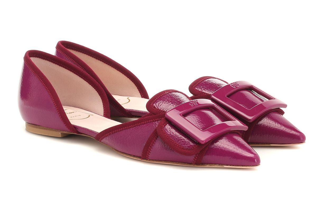 roger viver soft gommettine patent leather ballet flats
