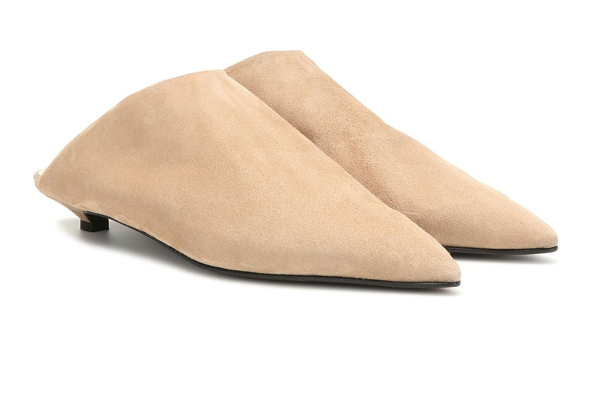 acne studios brion shearling lined suede slippers