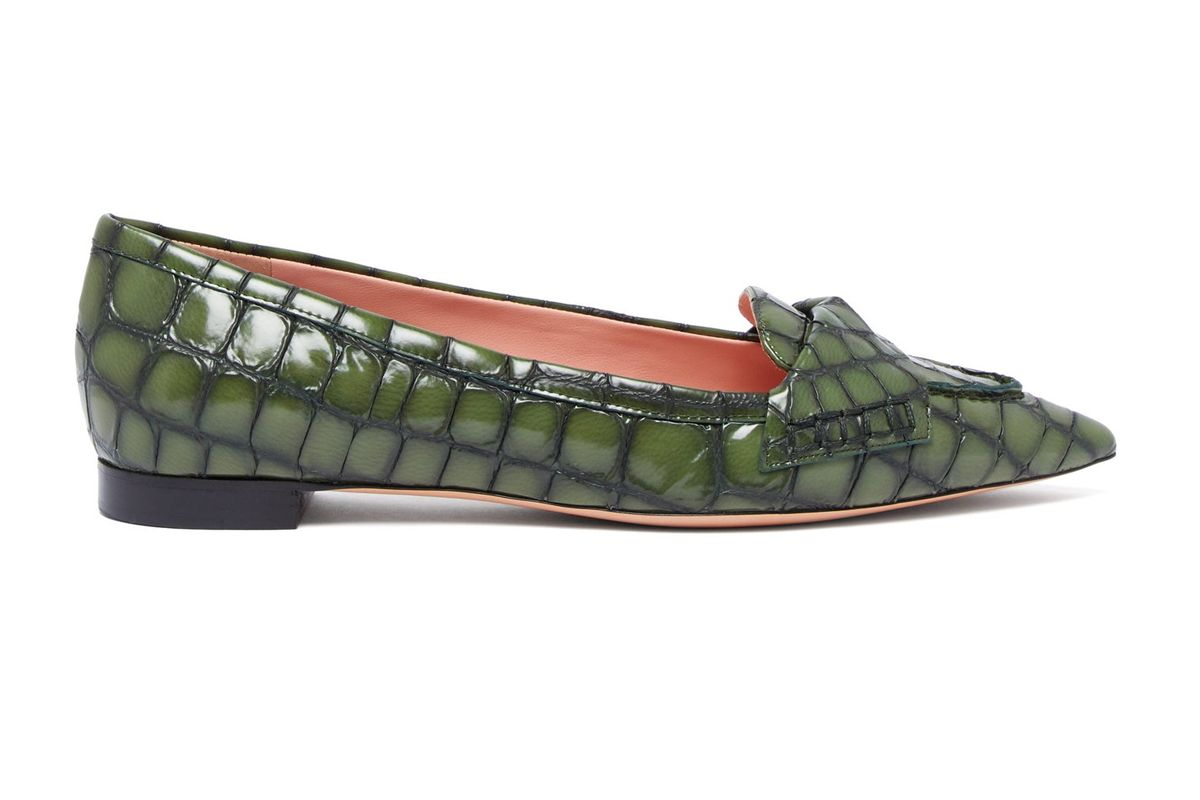 rochas point toe crocodile effect leather flats