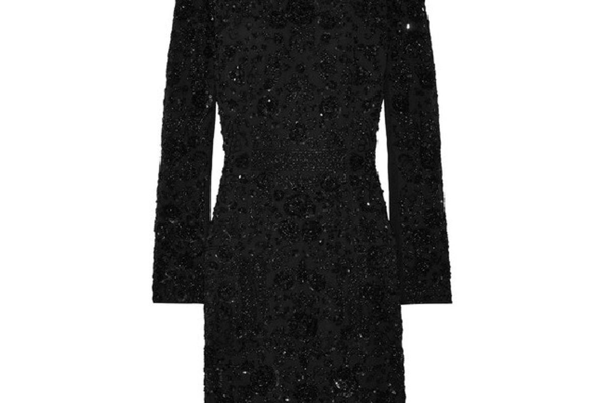 Monoliet embellished chiffon mini dress