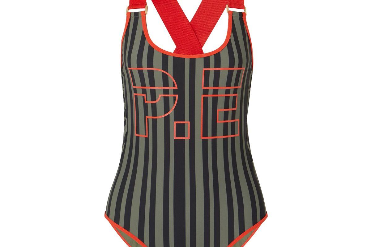 The Back Paddle Striped Printed Swimsuit