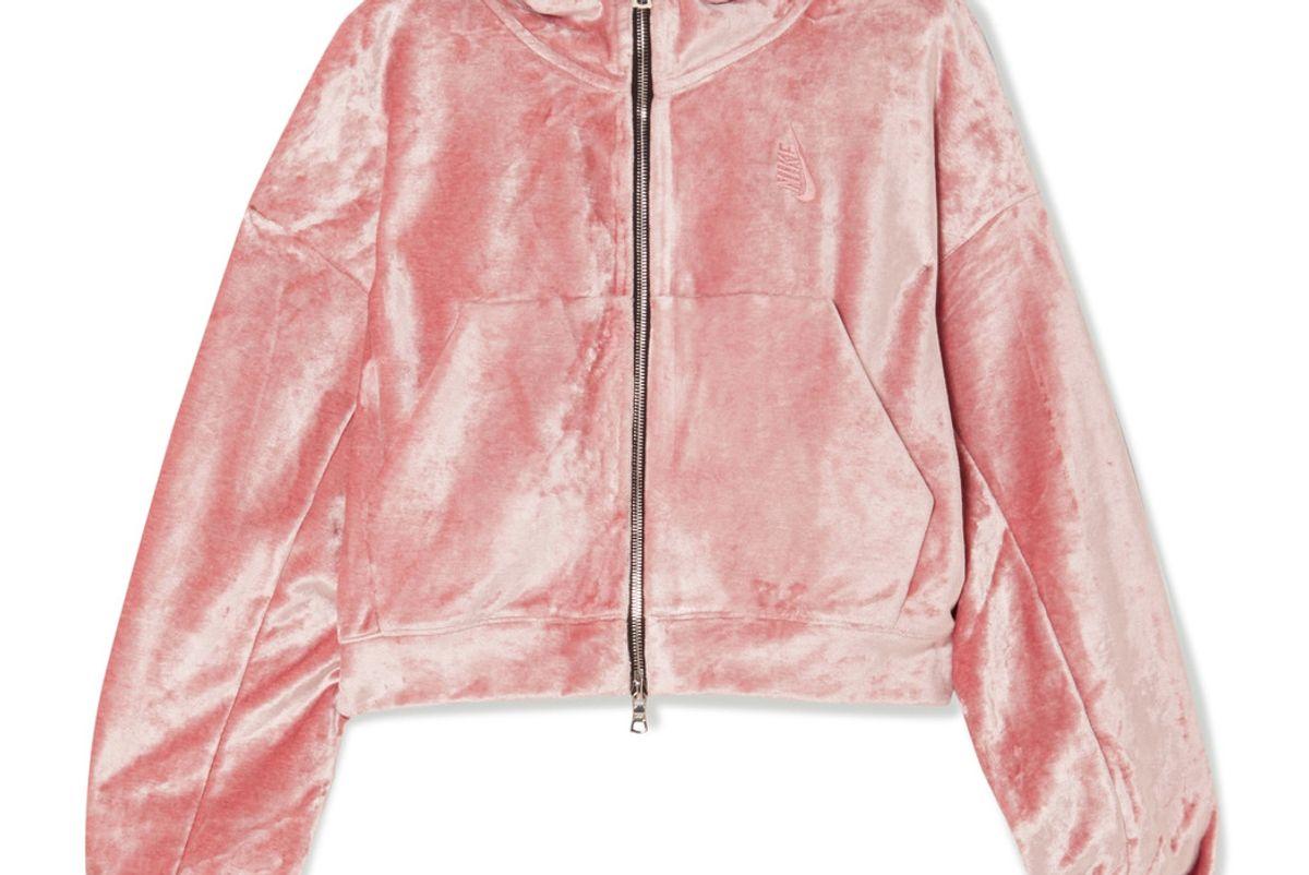 NikeLab Essentials Crushed-Velvet Hooded Top