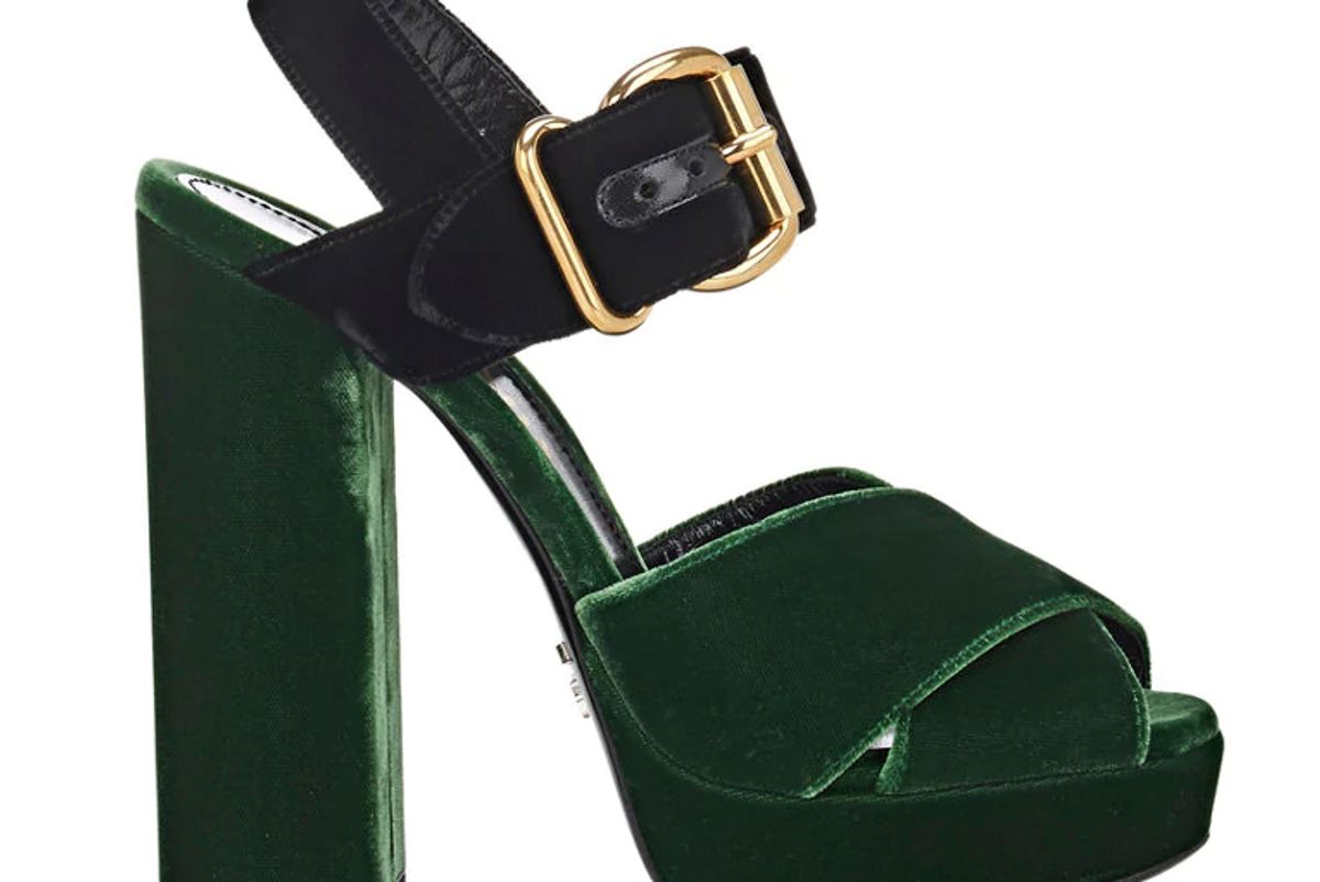 Colorblocked Velvet Platform Sandals