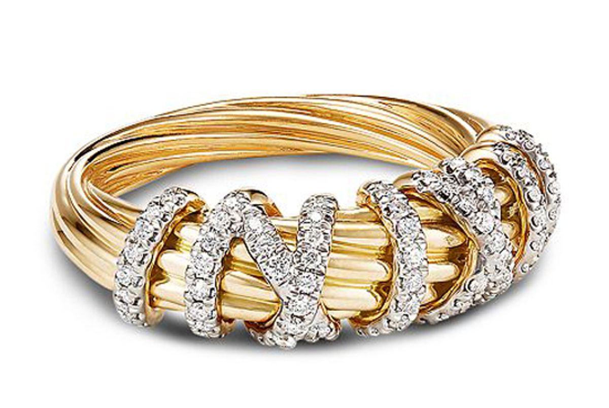 david yurman helena small ring in 18k yellow gold with diamonds