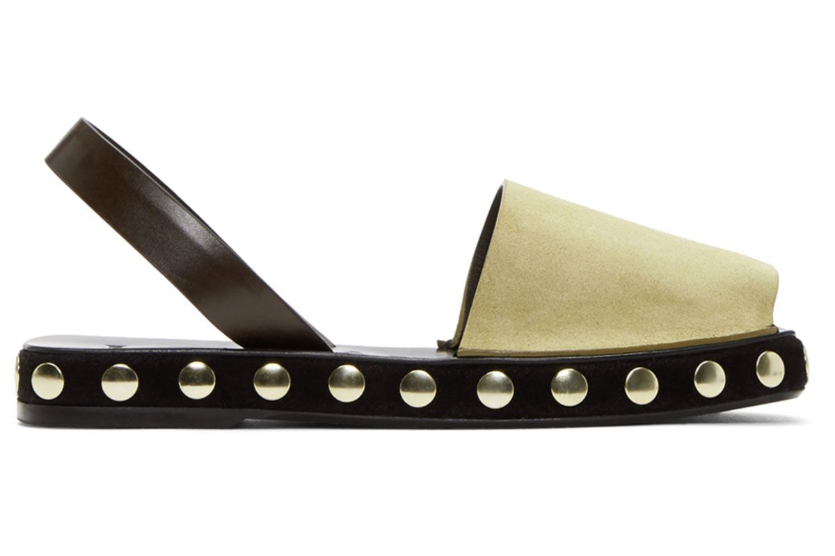 loewe beige studded slingback sandals