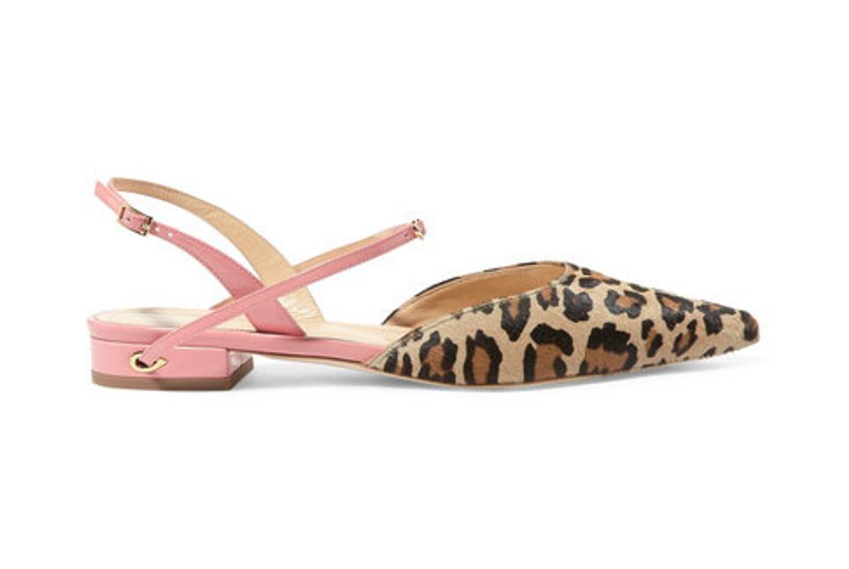 jennifer chamandi vittorio leopard print calf hair and patent leather point toe flats
