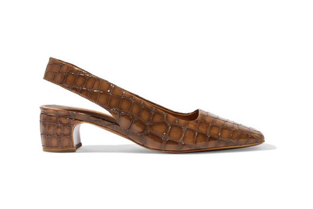 by far danielle croc effect leather slingback pumps