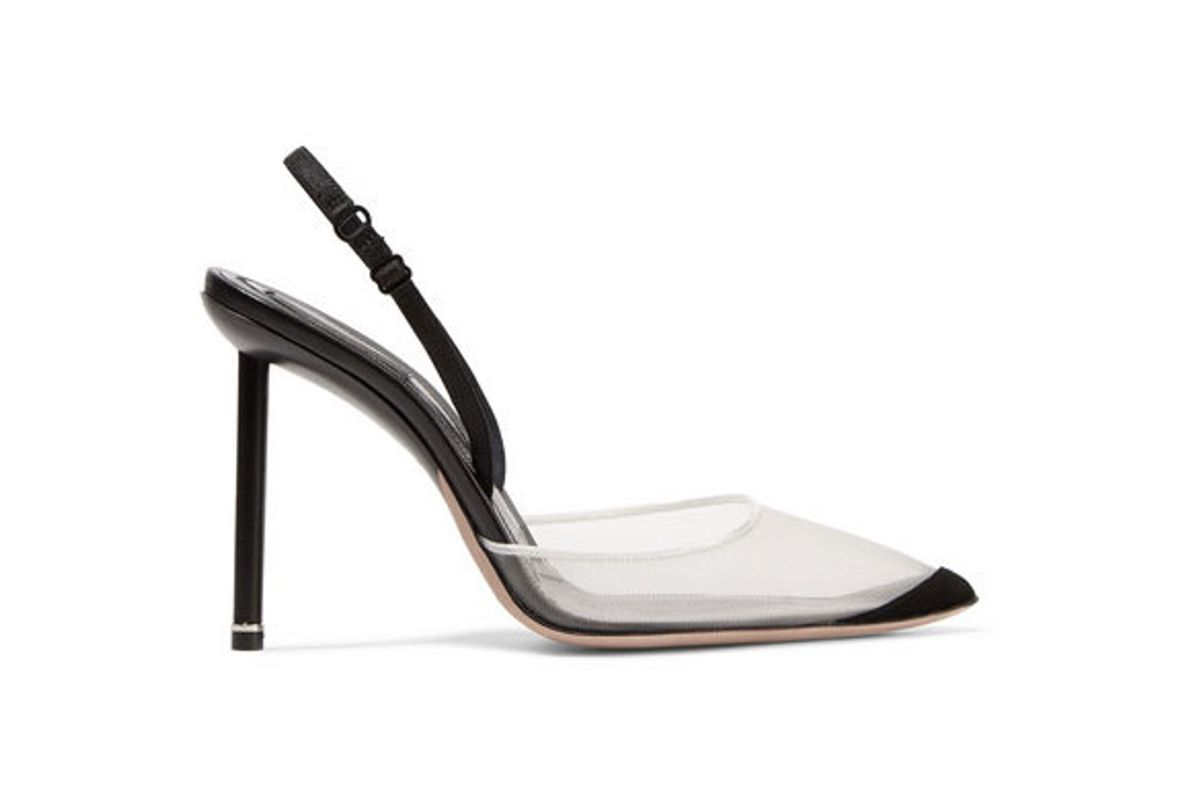 alexander wang alix suede and leather trimmed mesh slingback pumps
