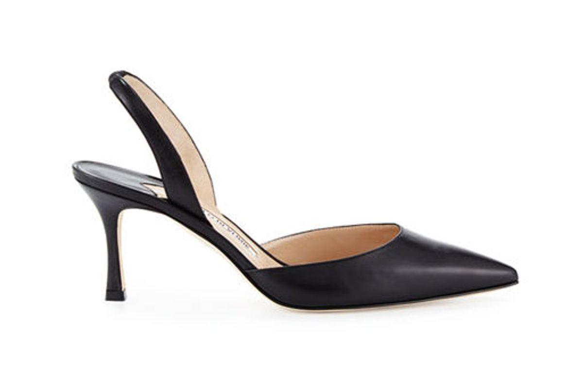 manolo blahnik carolyn leather mid heel 70mm halter pump