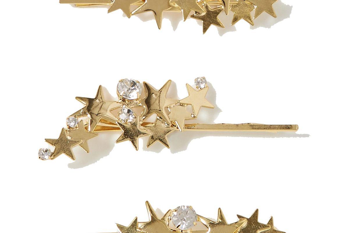 lelet ny modern stars set of three gold tone crystal hair slides