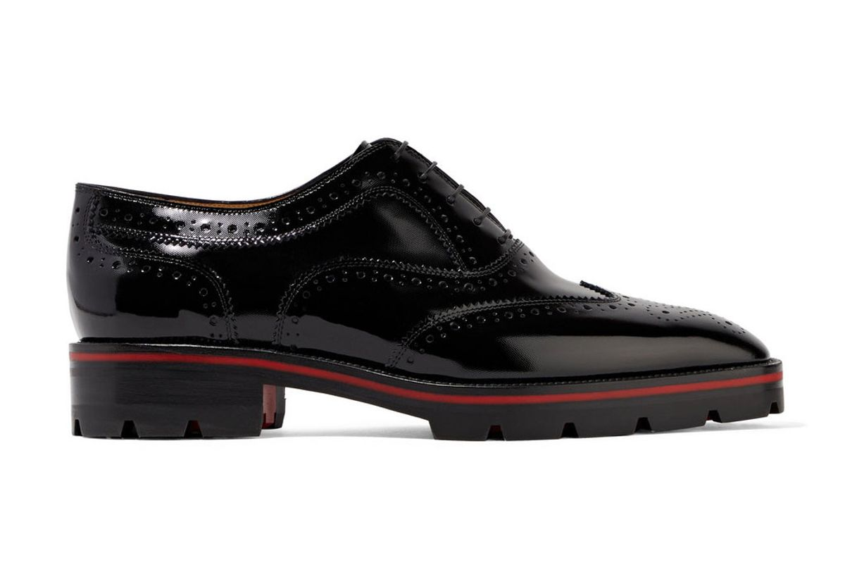 christian louboutin charlette patent leather brogues