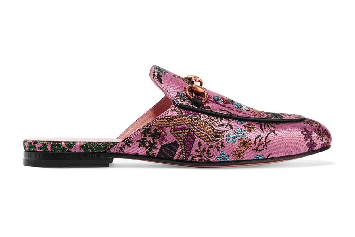 gucci princetown horsebit detailed metallic jacquard slippers