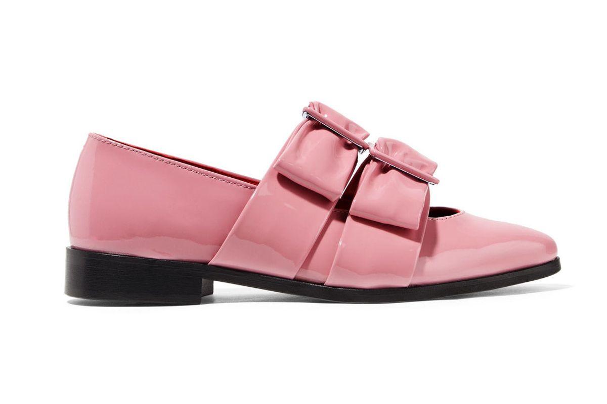 ganni idette bow embellished patent leather point toe flats
