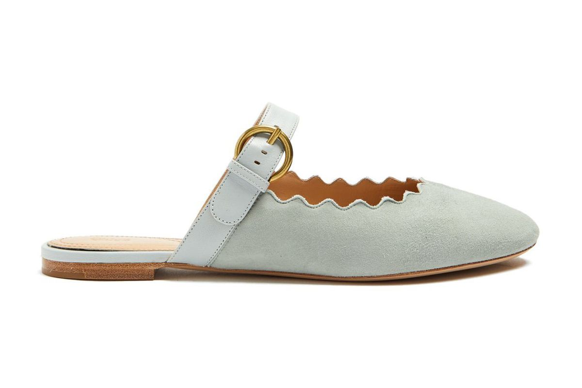 chloe lauren scallop edged suede backless loafers