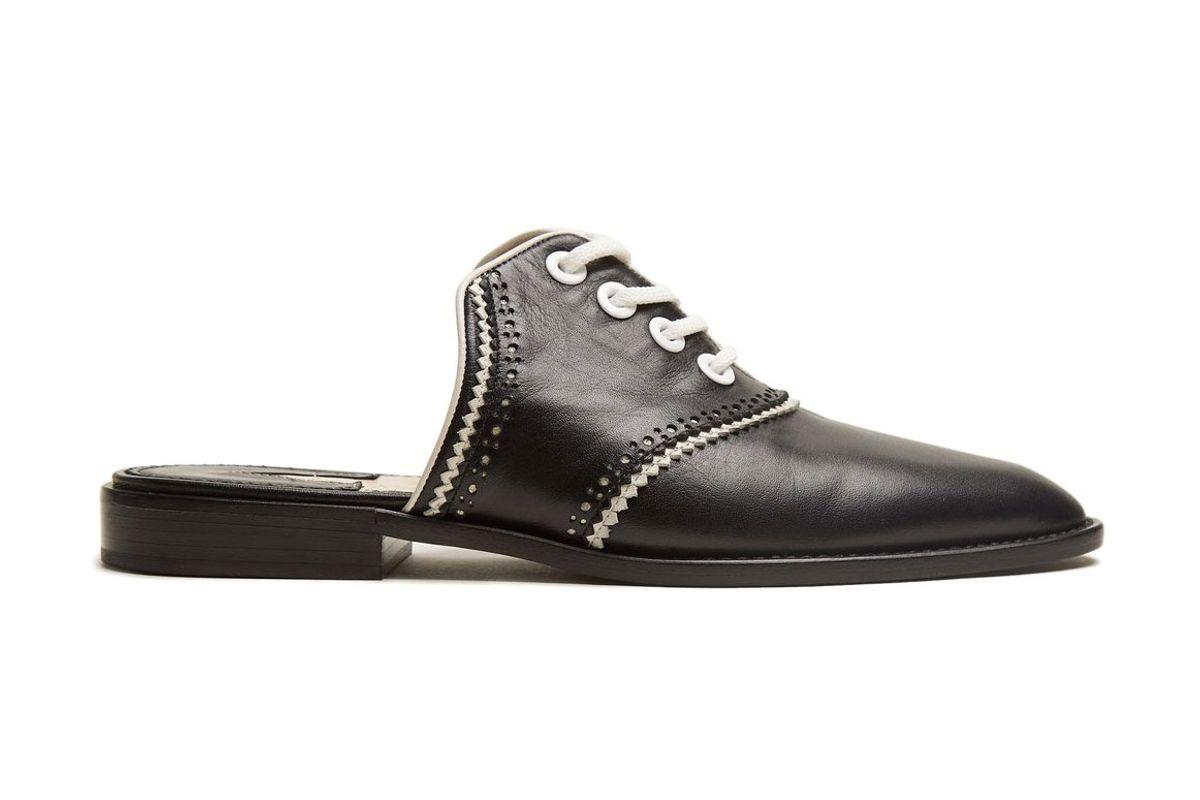 altuzarra zelie lace up leather backless loafers