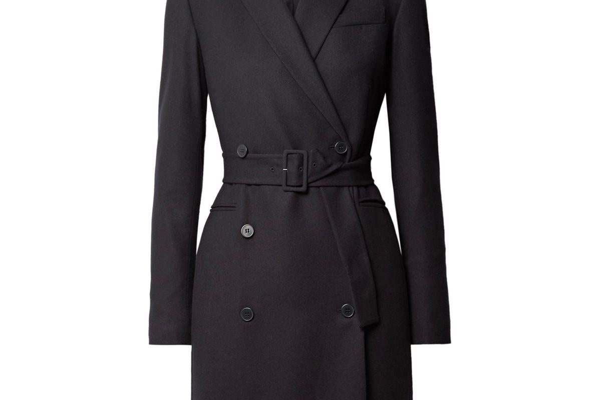 Double-Breasted Wool-Blend Twill Mini Dress