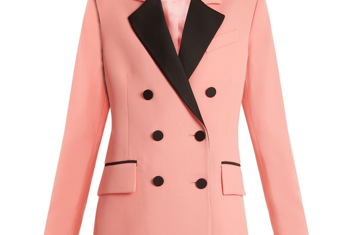 Paris Double-Breasted Contrast-Lapel Wool Blazer