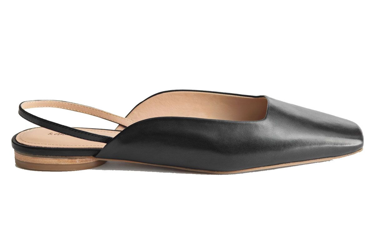 and other stories leather square toe ballerina flats
