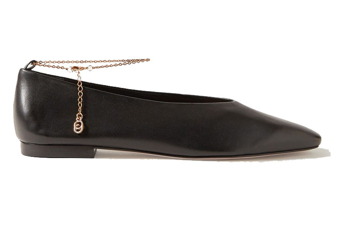 porte and paire chain embellished leather ballet flats
