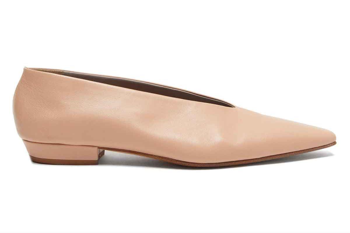 bottega veneta squared toe leather flats