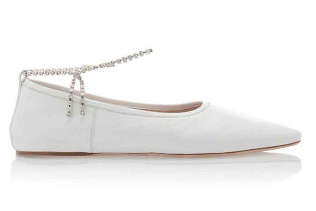 miu miu crystal strap leather ballet flats
