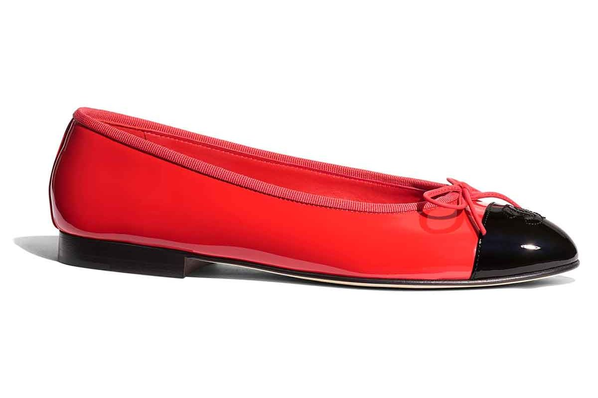 chanel ballerinas patent calfskin red and black
