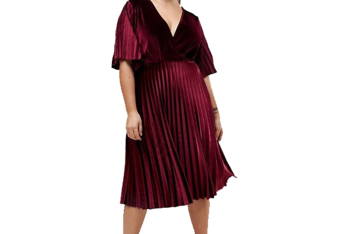 Curve Pleated Velvet Kimono Midi Dress