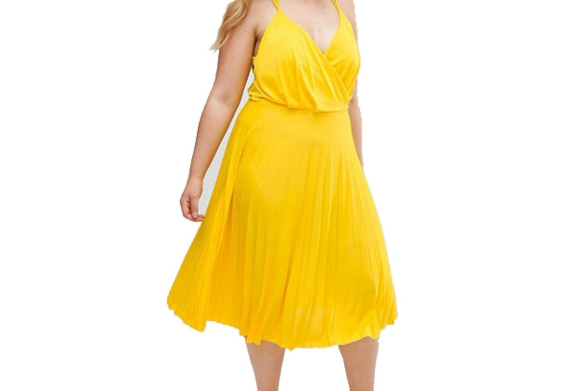 Curve Blouson Wrap Midi Dress with Pleated Skirt