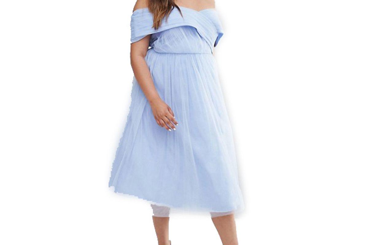 Curve Wedding Tulle Midi Dress