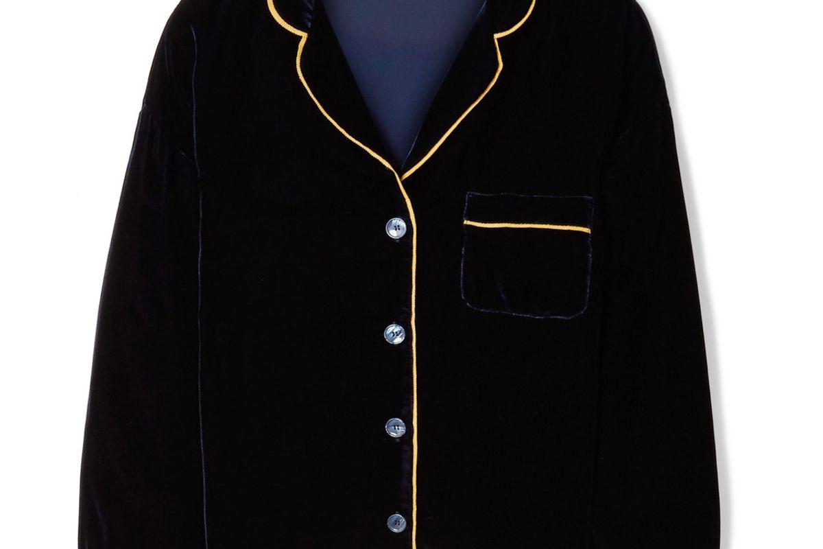 Marina Grosgrain-Trimmed Velvet Pajama Shirt