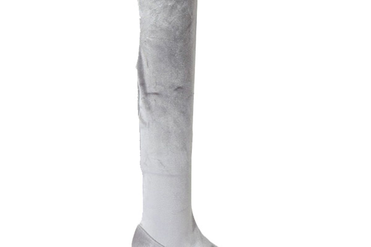 Melinda Grey Velvet Thigh High Boots