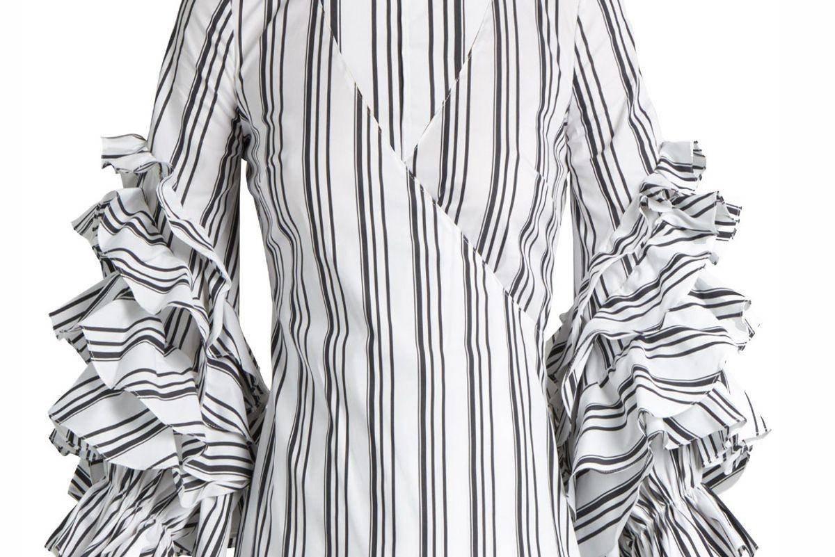 Athena Striped Ruffled-Sleeve Blouse