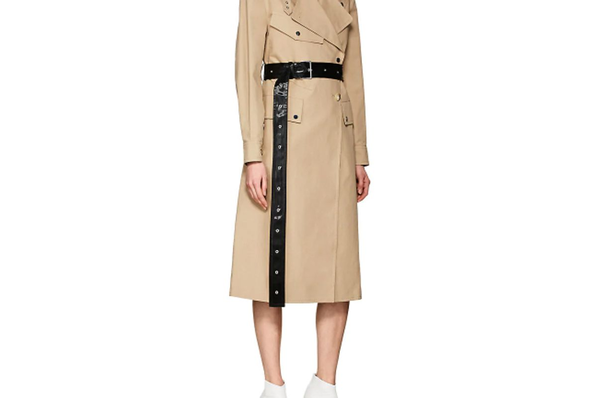 helmut lang belted cotton trench coat