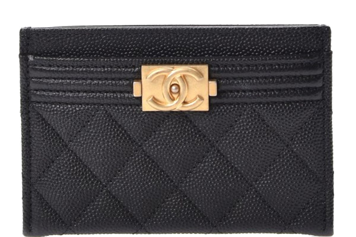 chanel boy card holder quilted diamond