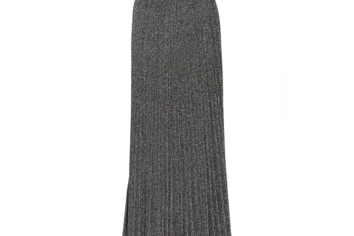 Pleated Metallic Knitted Maxi Skirt