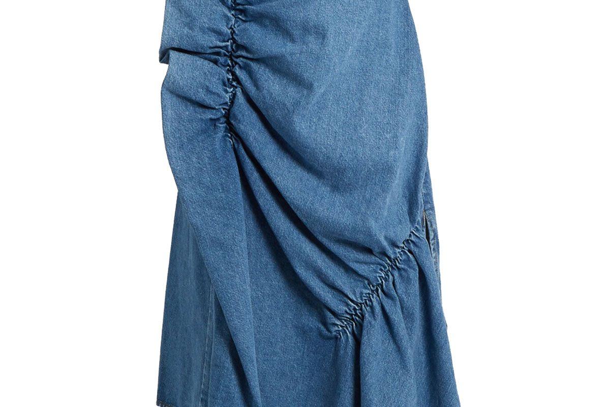 Ruffle-Trimmed Denim Skirt