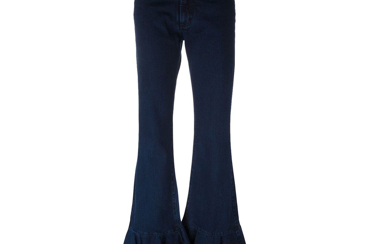 Flared Pleated Jeans