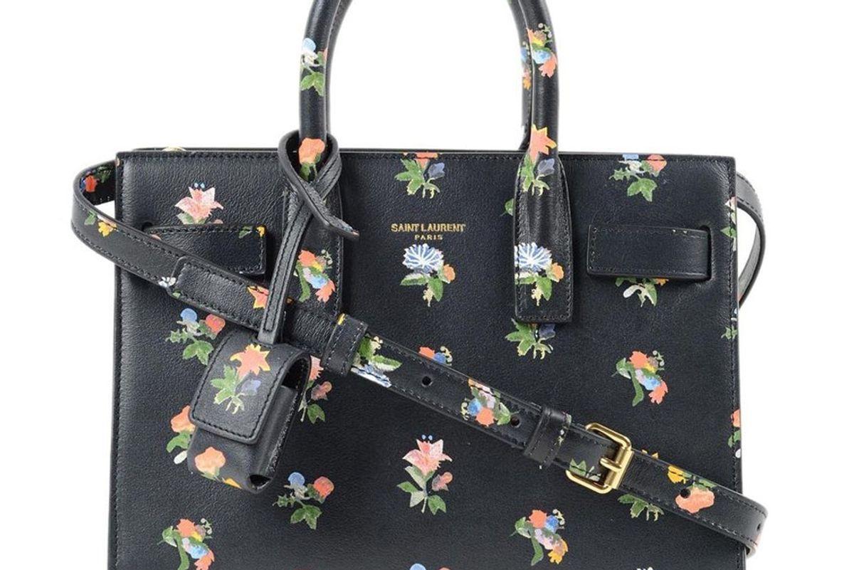saint laurent sac de jour top handle floral mini bag