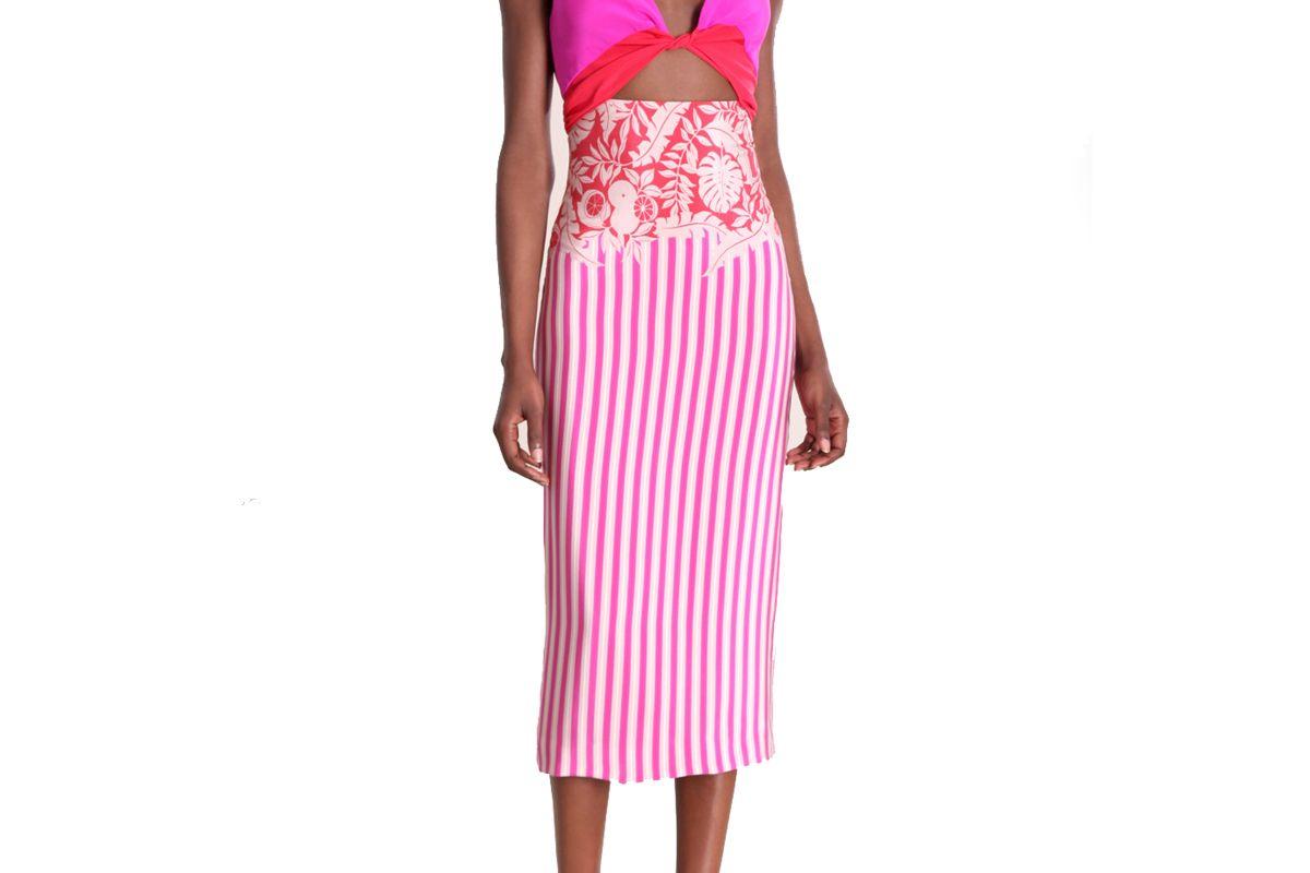 cushnie tropical stripe robyn dress