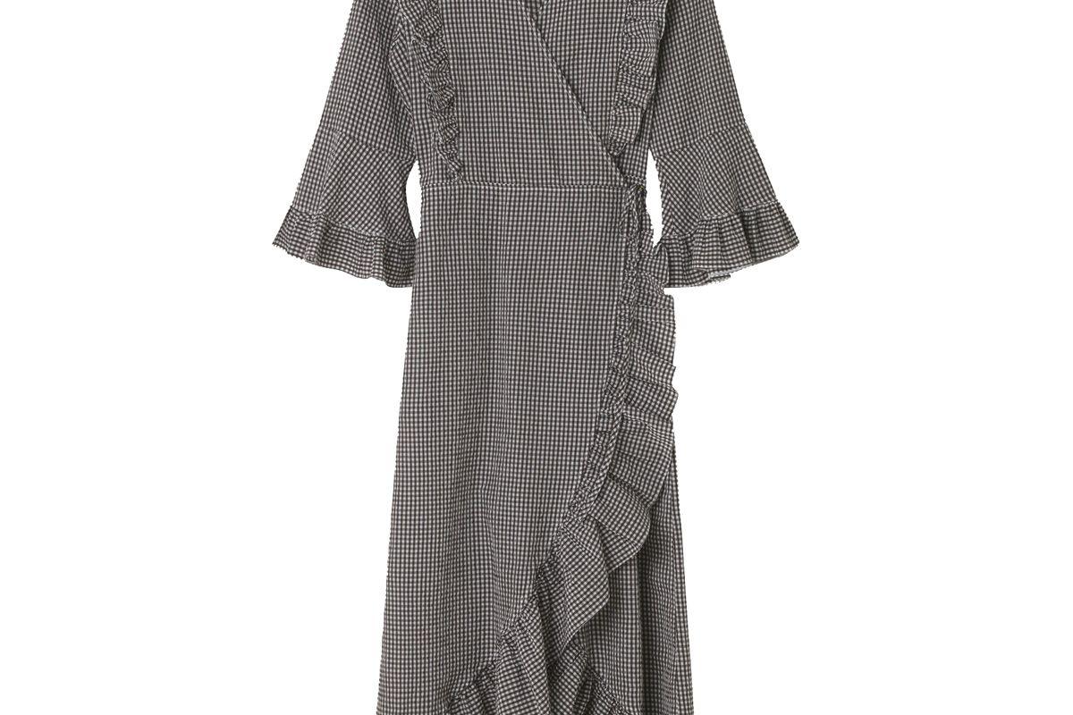 ganni charron wrap dress