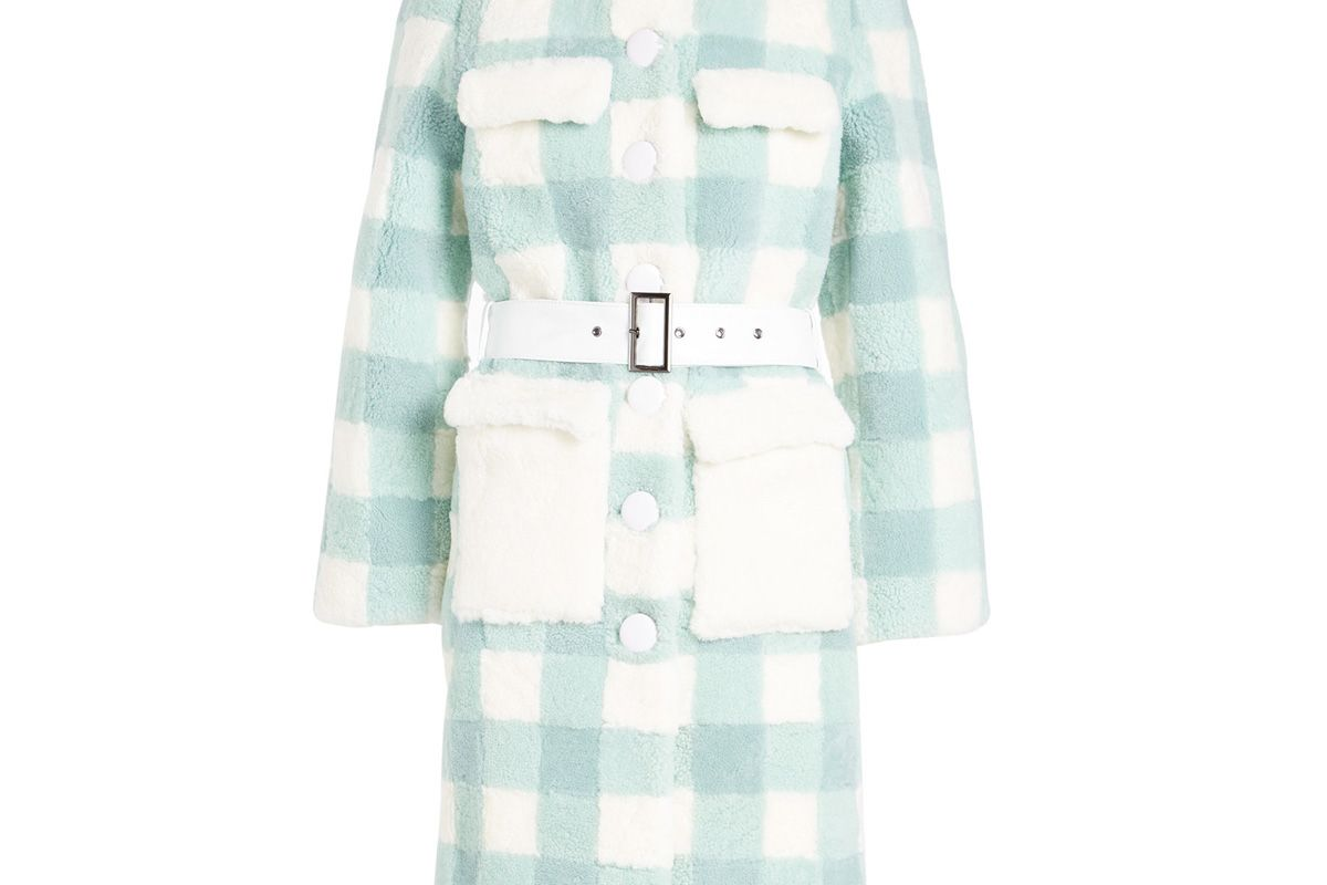 saks potts lunis mint checked fur skin coat with leather belt