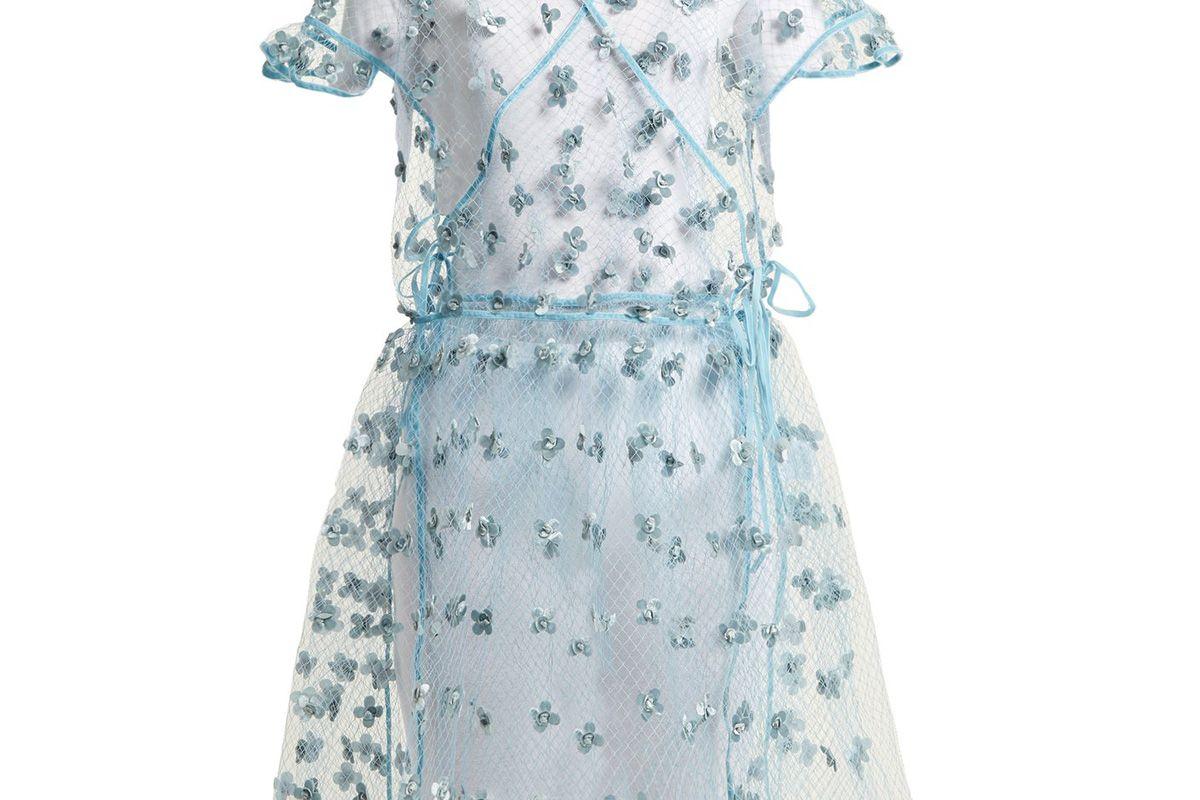 cecilie bahnsen aida floral embellished sheer wrap dress