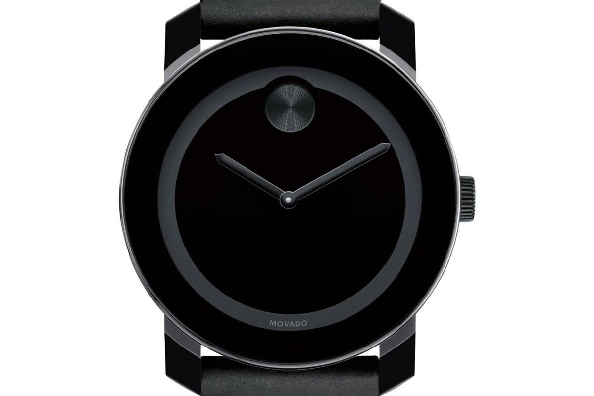42mm Bold Leather Strap Watch