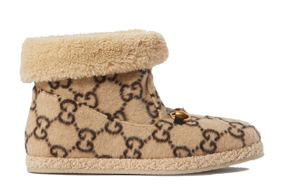 guuci fria horsebit detailed logo print wool and faux shearling ankle boots